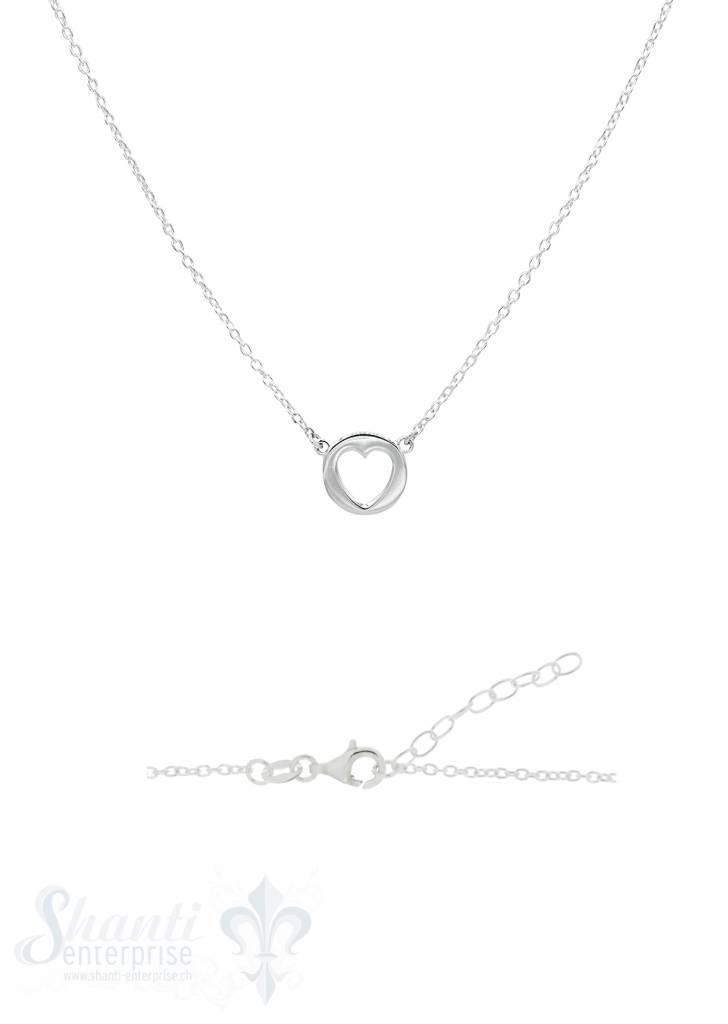 Silber-Halskette 34-37 cm Paquette mit Herz ausges