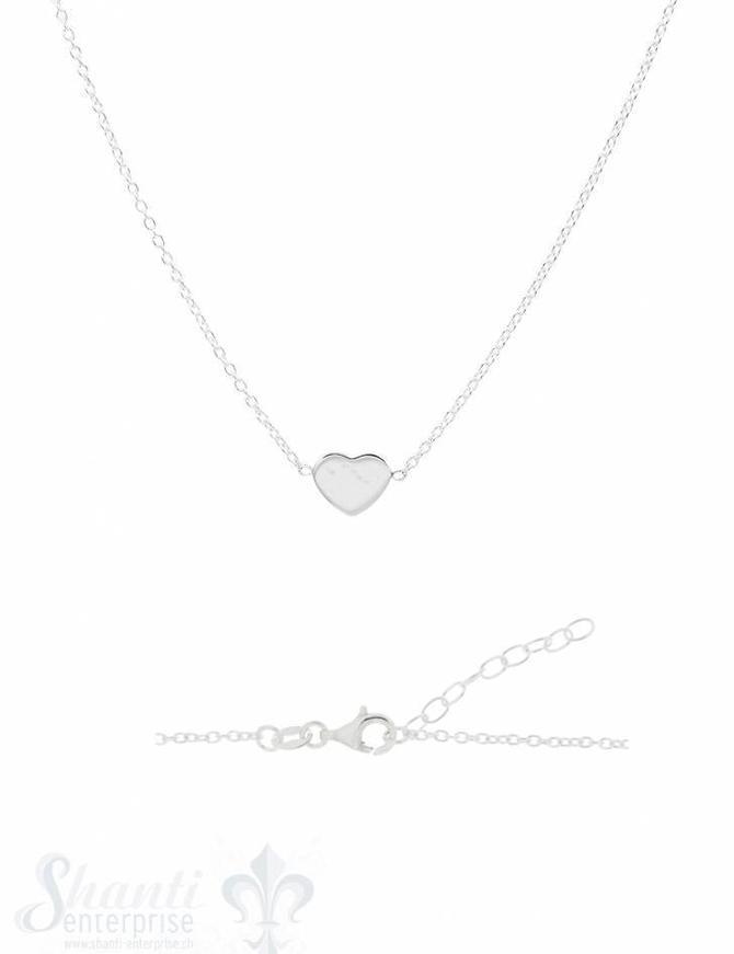 Halskette Silber Anker mit Herz flach poliert in der Mitte Karabiner 42-45 cm Grössen verstellbar