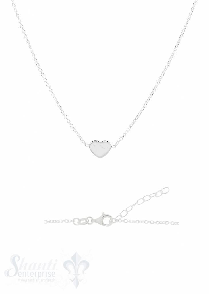 Halskette Silber Anker mit Herz flach poliert in