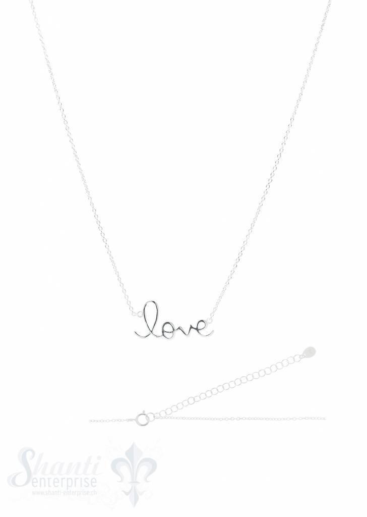 Silberkette Anker fein Silber hell Schrift love 17
