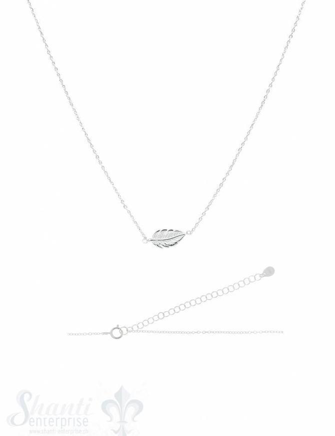 Silberkette Anker fein Silber hell mit Blatt 38-43 cm Grössen verstellbar Karabiner