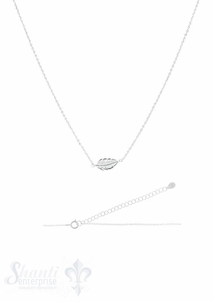 Silberkette Anker fein Silber hell mit Blatt