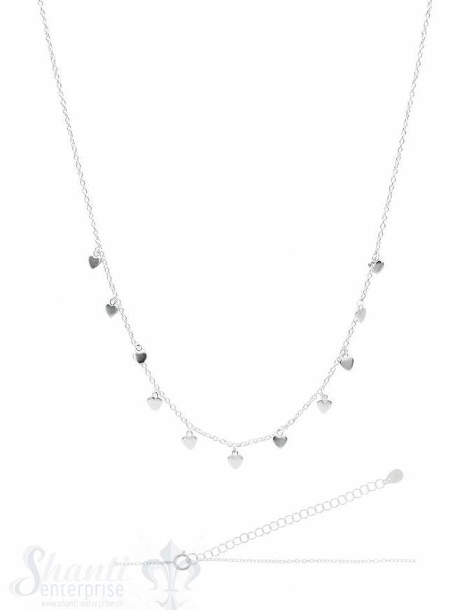 Silberkette ChokerAnker fein Silber hell mit Herzli 33-38 cm Grössen verstellbar Federringschloss