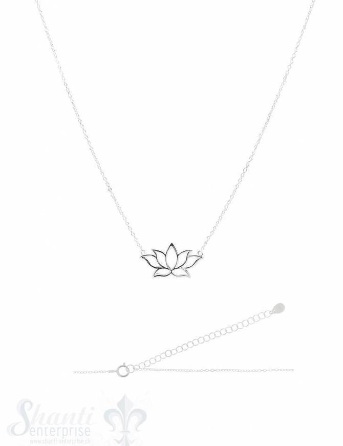Silberkette Anker fein Silber hell mit Lotusblume durchbrochen 38-43 cm Grössen verstellbar Karabiner