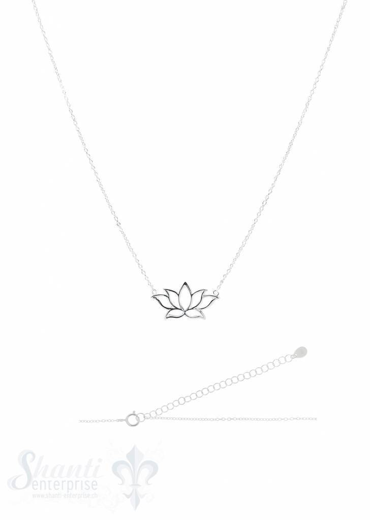Silberkette Anker fein Silber hell mit Lotusblume