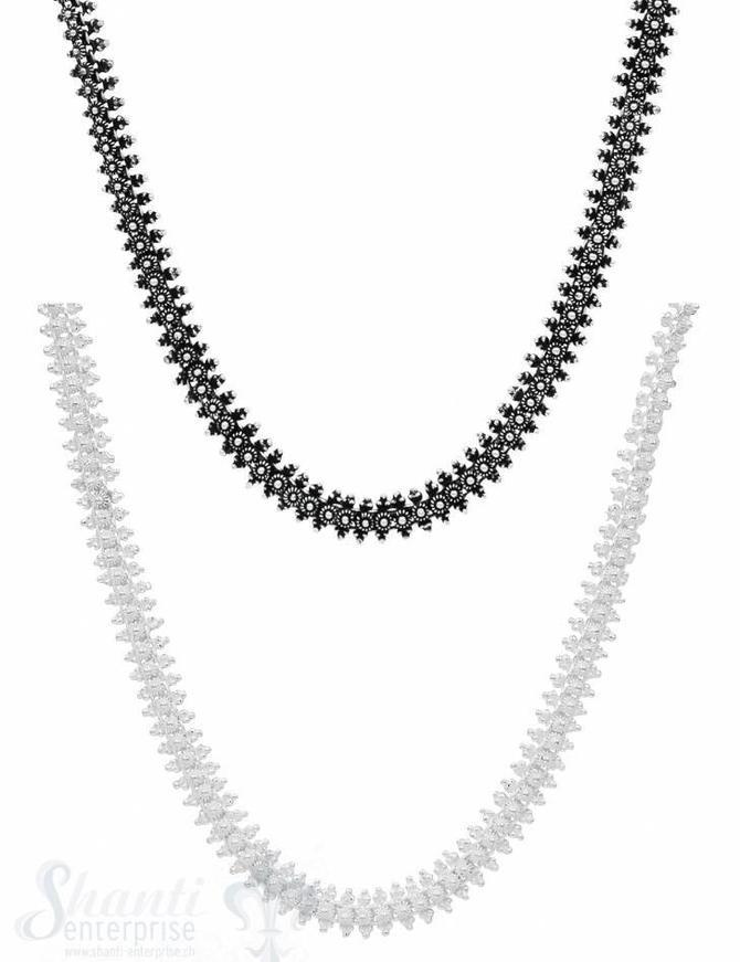 Silberkette Silber reich verziert 40-43 cm Grössen verstellbar, Karabiner