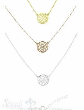 Silberarmkette: Ankerkette fac. mit Blumenscheibe Grössenverstellbar 38 /42 cm