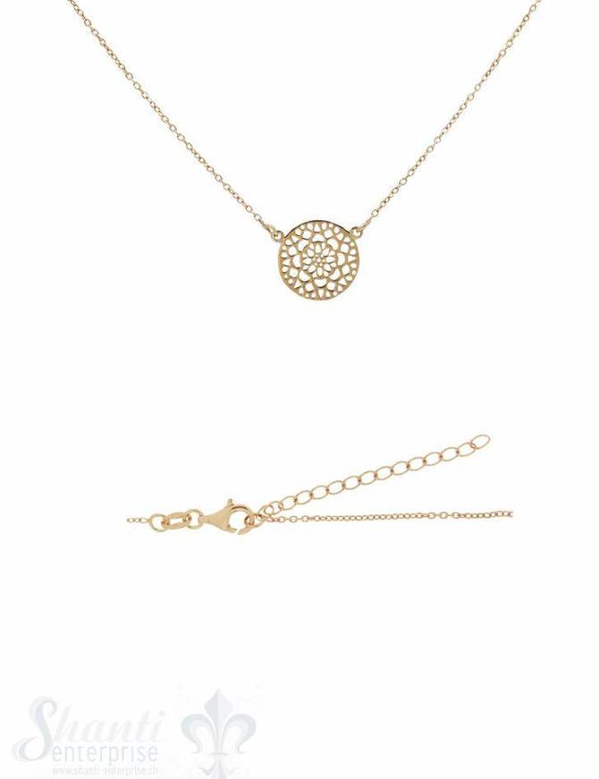Silberhalskette: Ankerkette fac. mit Blumenscheibe Grössenverstellbar 38 /42 cm