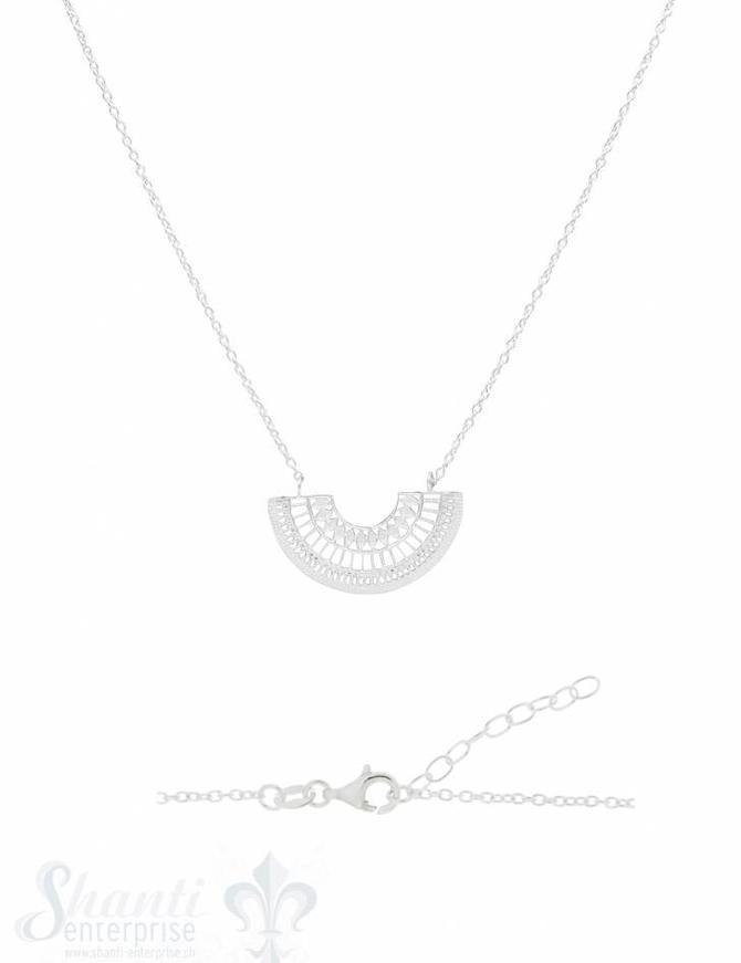 Silberkette Silber mit Halbkreis verziert durchbrochen 28x15 mm 44-48 cm Grössen verstellbar