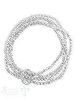 Armkette auf Elastik Silber Kügeli 3 mm 5-reihig mit dicker Öse poliert   18 cm