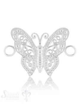 Silberteil mit Doppelösen Schmetterling mit Struktur 32x21 mm Dicke: 2,6mm