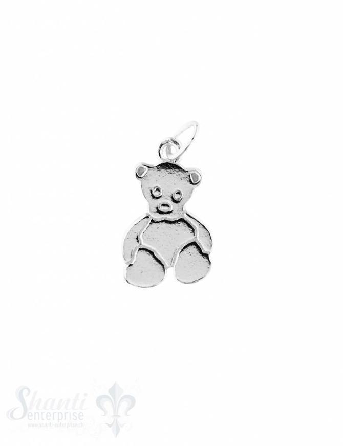 Anhänger Silber hell Teddybär flach poliert 15x10 mm 1 Pack = 2 Stk.