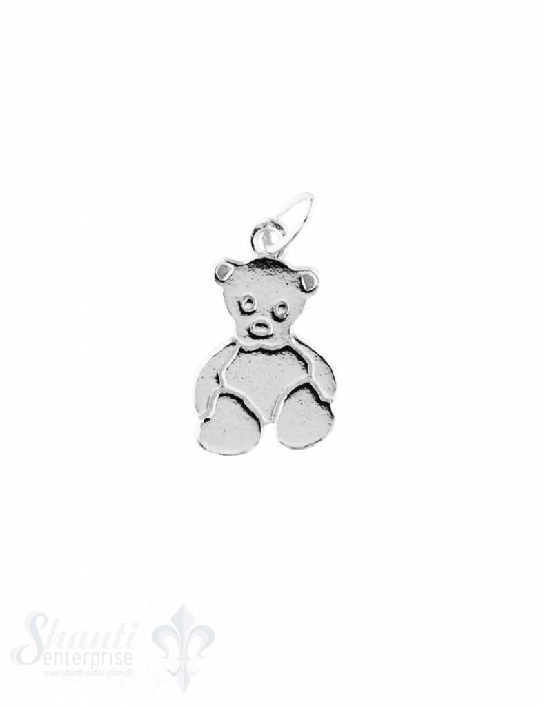 Anhänger Silber hell Teddybär flach poliert