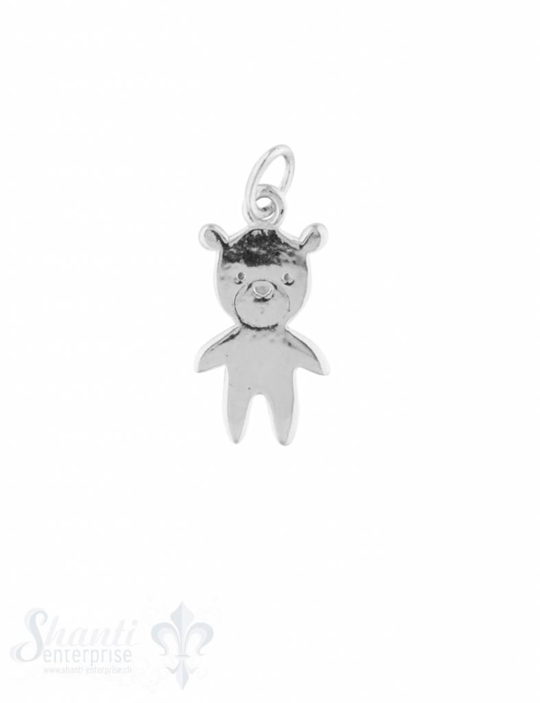 Anhänger Silber hell Teddybär 17x9 mm