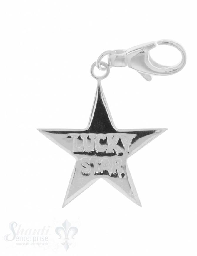 "Anhänger Silber hell Stern ""Lucky Star"" 29 mm glat t mit Karabiner"