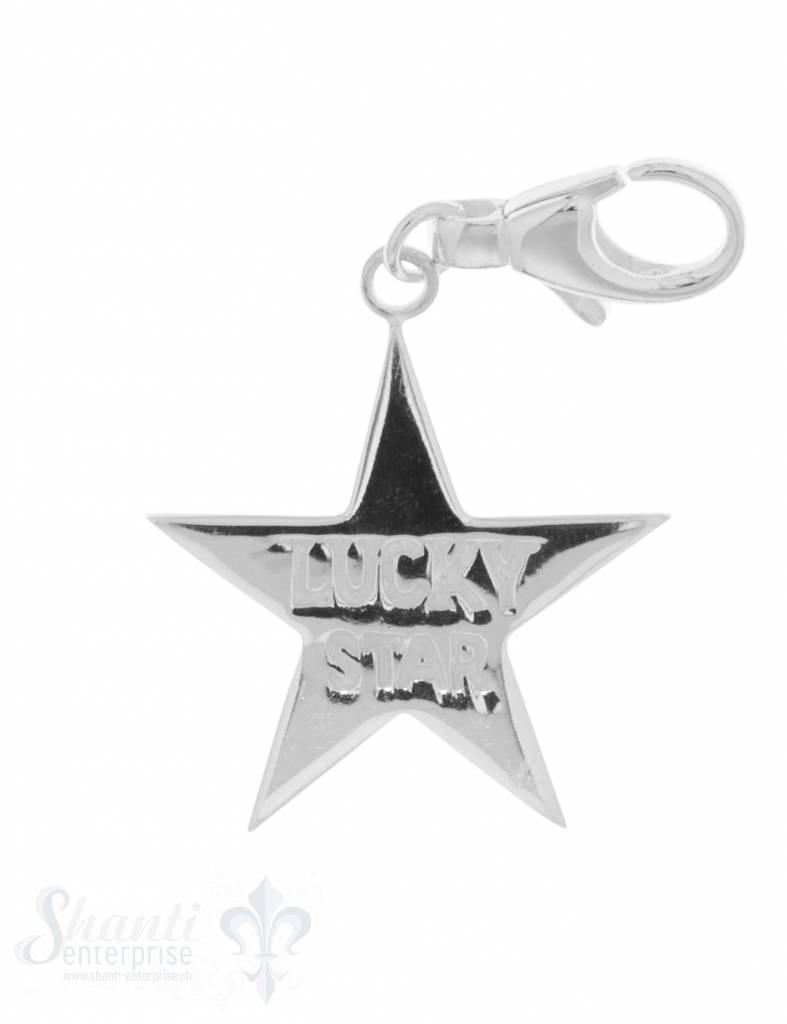 """Anhänger Silber hell Stern """"Lucky Star"""" 29 mm glat"""