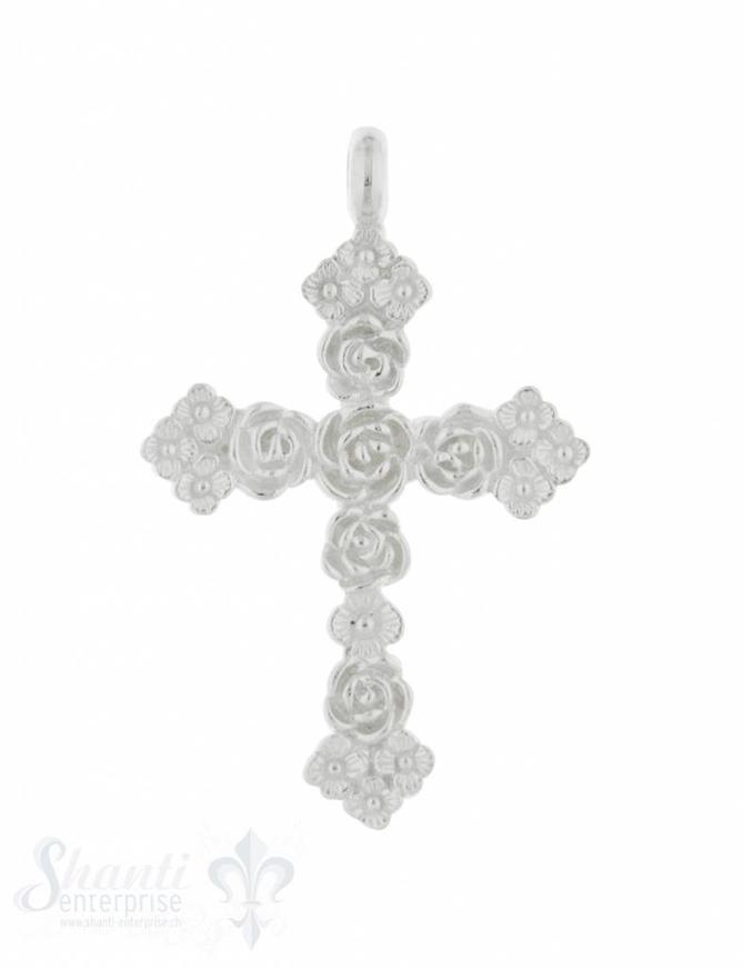Anhänger Silber hell Kreuz mit Rosen 41x26 mm