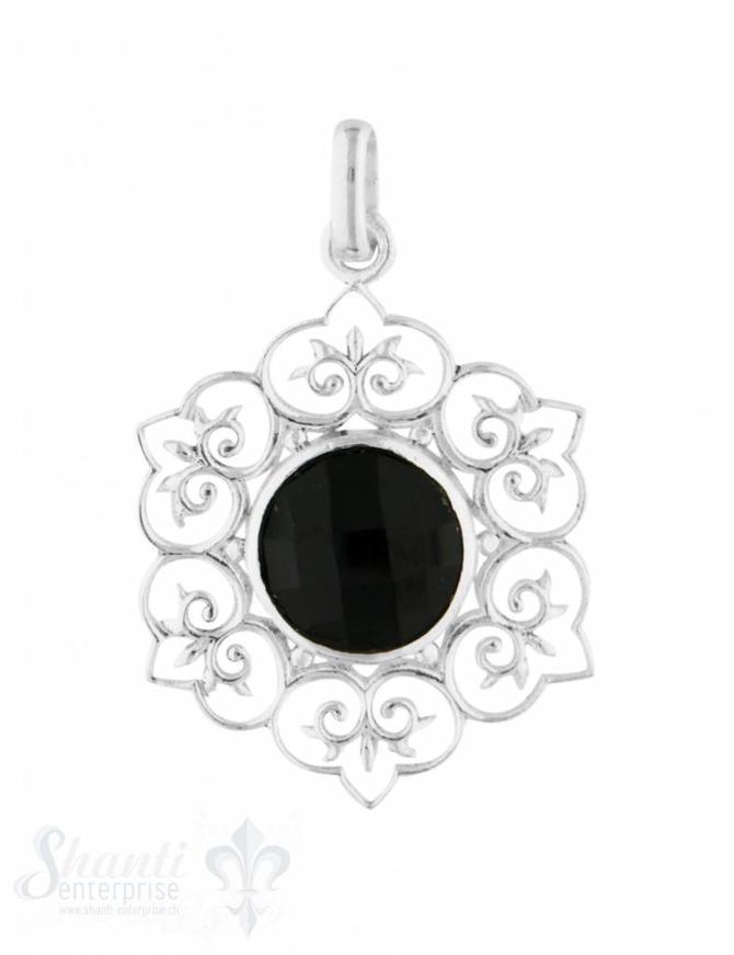 Anhänger Silber hell Lotusblume mit  stein rund facett. durchbrochen mit Öse 24 mm Lotus 6- blättrig
