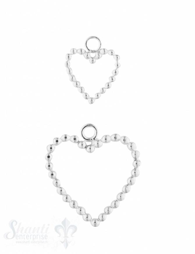 Anhänger Silber hell Herzrahmen gepunktet 16x13 mm Pack = 3 Stk.
