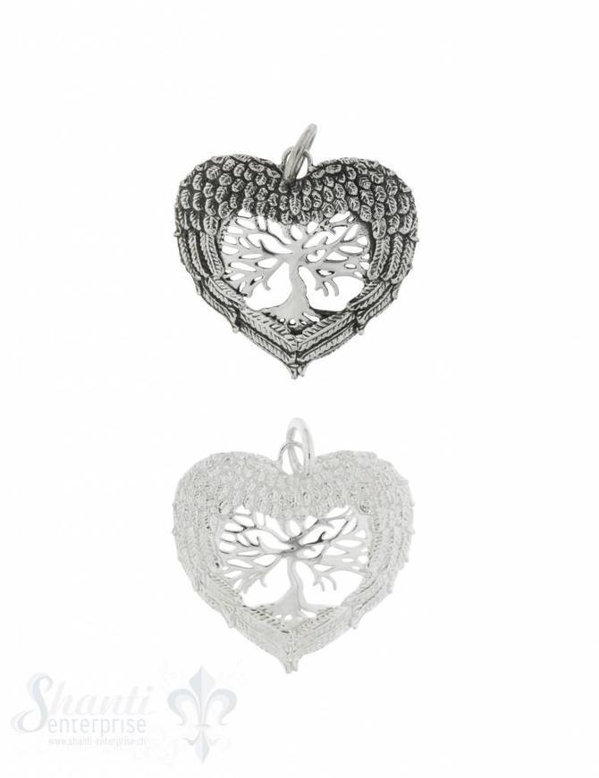 Anhänger Silber Baum des Lebens mit Engels-Flügel umrahmt in Herzform 24x26 mm mit Öse