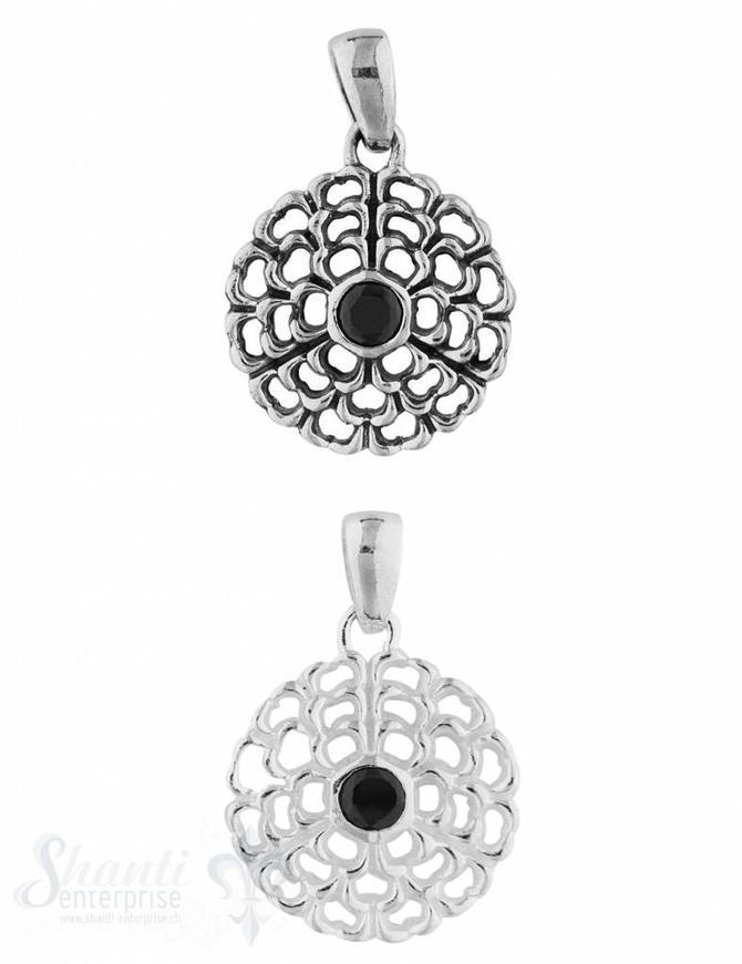 Anhänger Silber Medaillon mit Onyx durchbrochen 21 mm