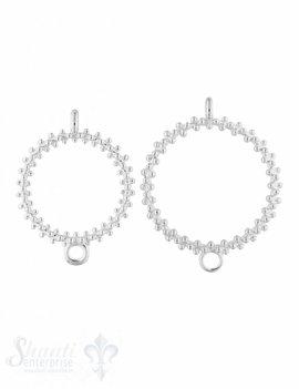 Silberteil mit Doppelösen hell Ring gepunktet 1 Öse quer 1 Öse hoch