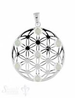 Anhänger Silber hell Blume des Lebens mit Steinen klein 7 Stück mit Öse 30 mm