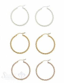 Ohrhänger Creolen Silber gedreht mit Click-Verschluss