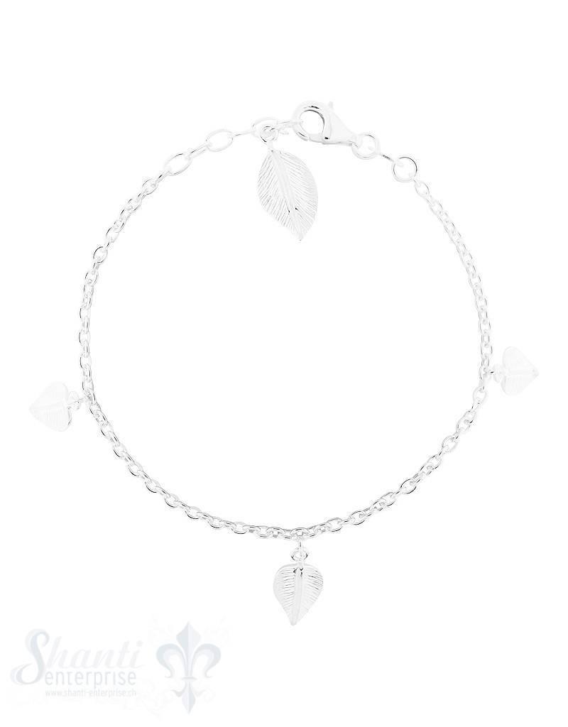 Armkette: Silber Anker,mit 4 Blättern 8x13 mm: Grössen verstellbar 16-19 cm