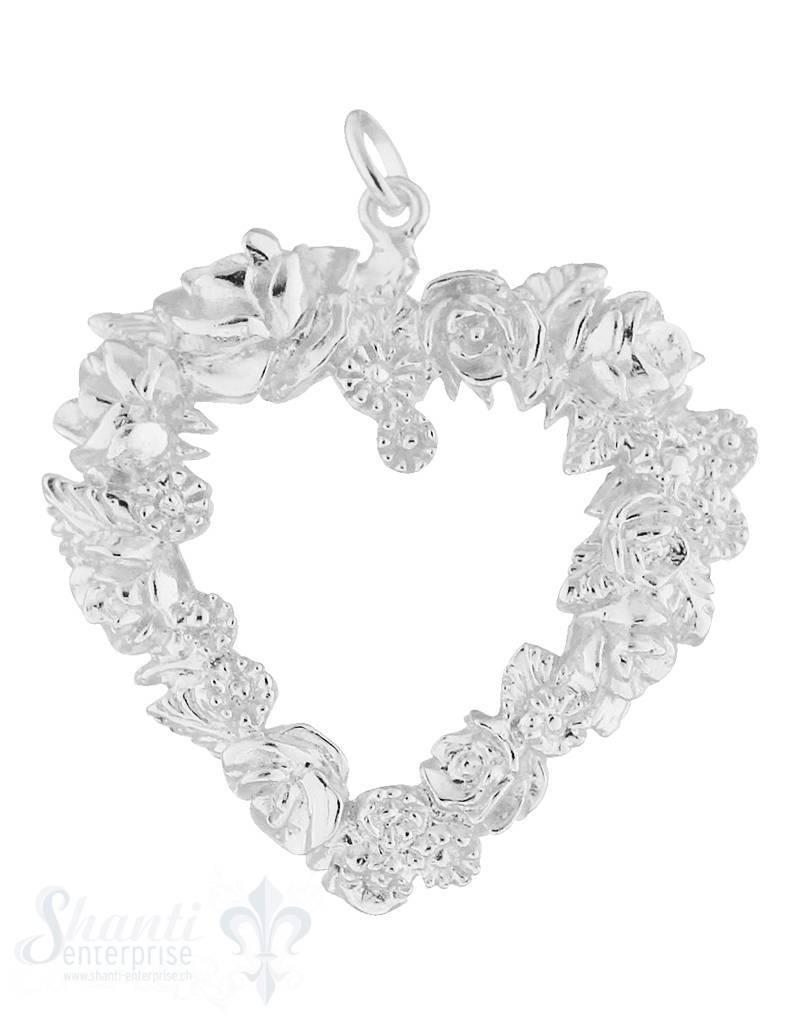 Silberanhänger Herz Rahmen mit Rosen verziert weiss mit Öse 42x40 cm
