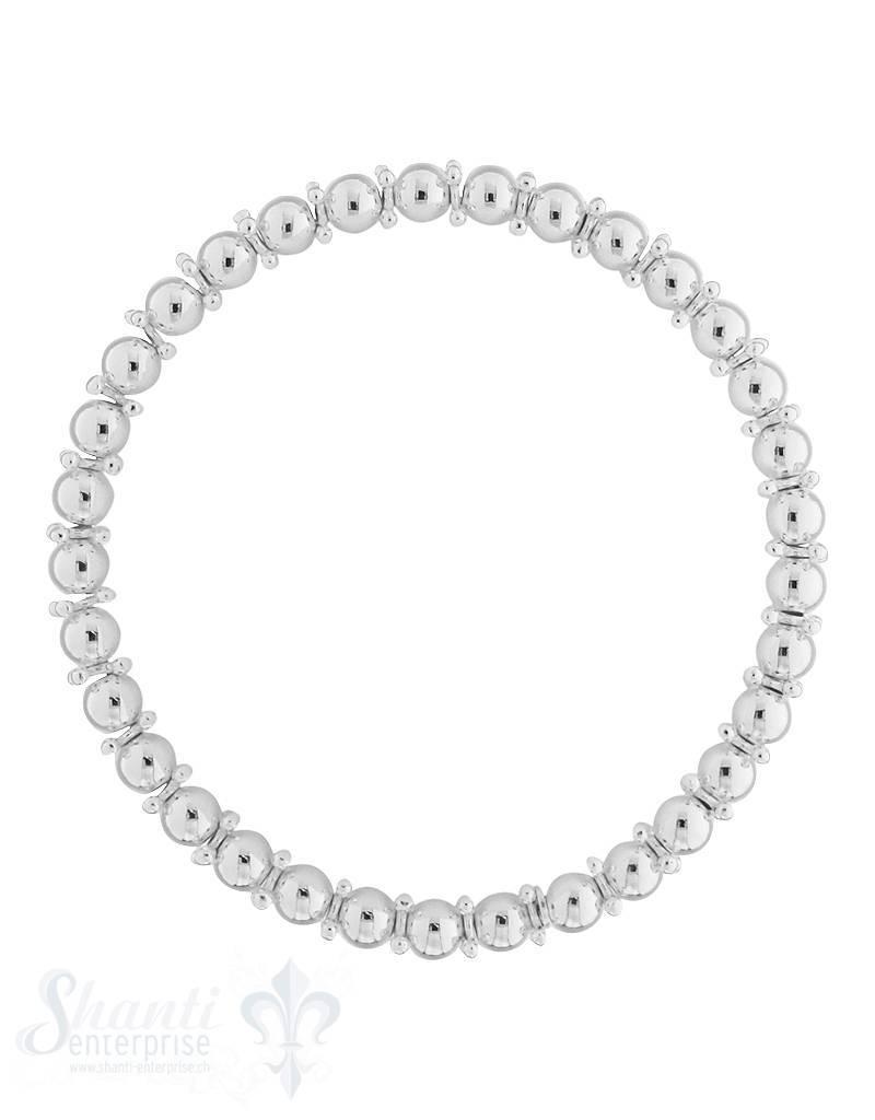Armkette auf Elastik Silber Kügeli 5mm mit 1:1 Silberrädli, exklusiv  18 cm