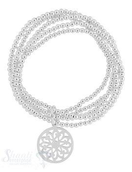 Armkette auf Elastik Silber Kügeli 3 mm 5-reihig dicker Öse mit Amulett 20 mm   18 cm