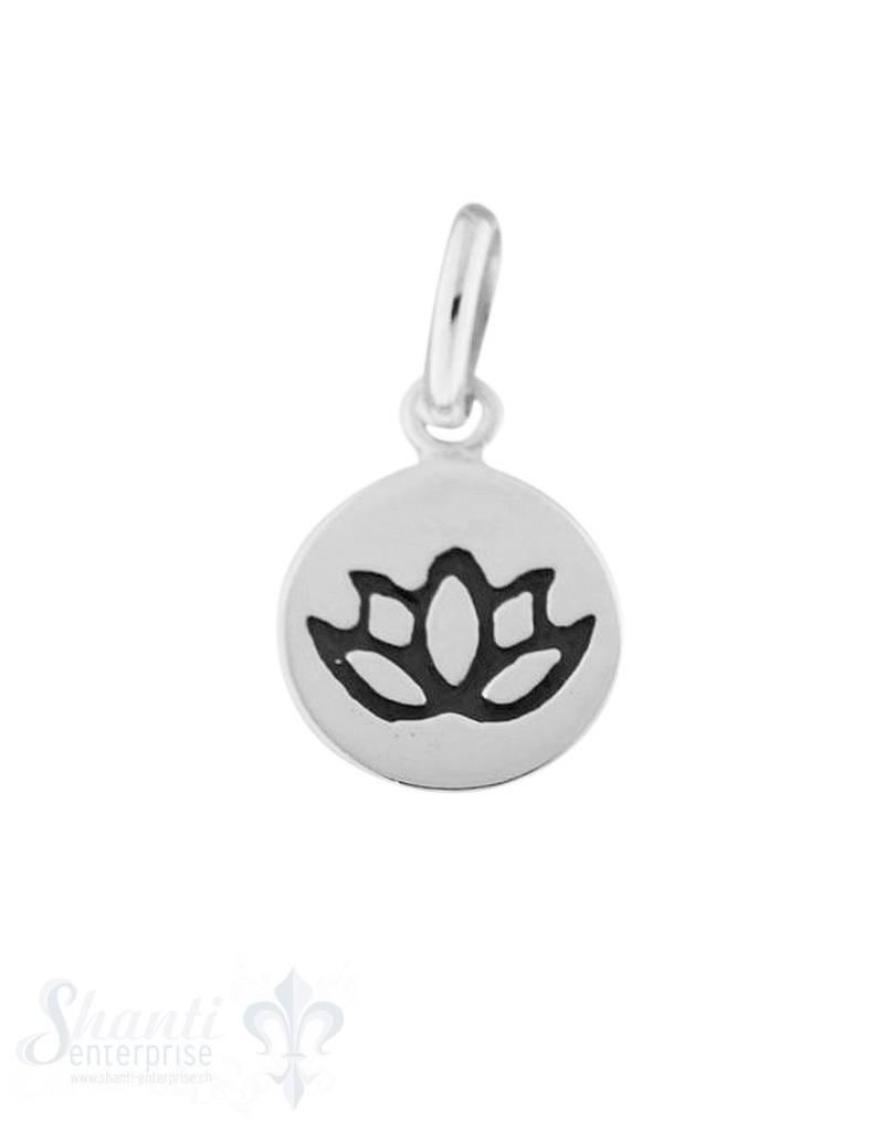 Silberanhänger Plaquette mit Lotusblume geschwärzt graviert einseitig 10 mm
