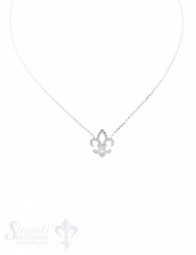 Silberkette: Fleur de Lile mit Zirkonia 42cm Karabiner, Anker 0,9x1,2 mm