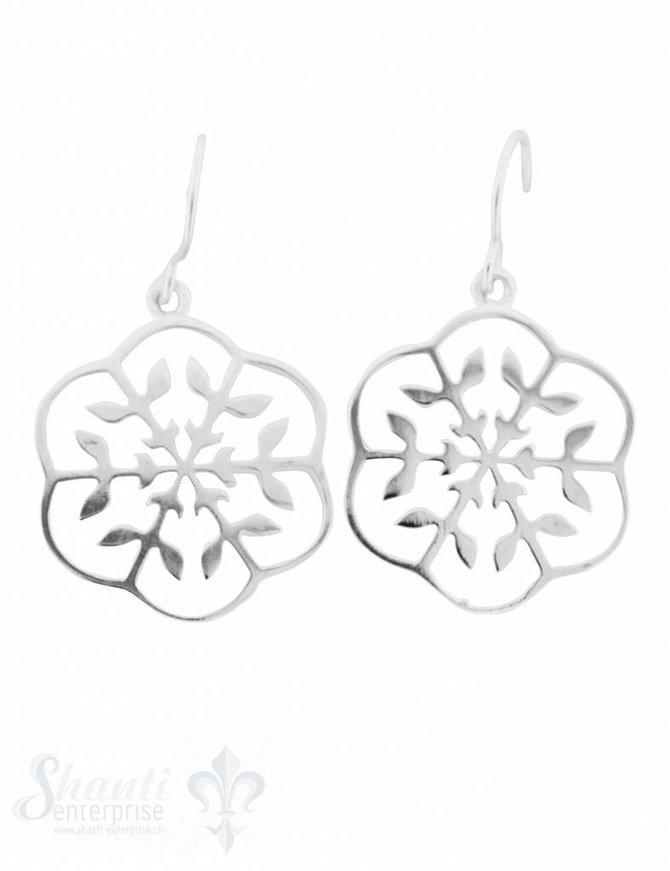 Ohrhänger Silber Schneeflocke 18 mm mit Bügel