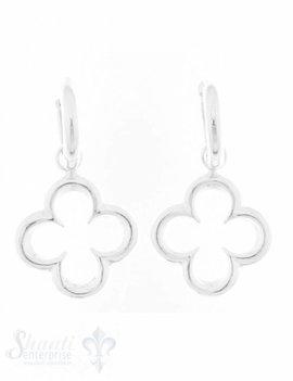 Ohrhänger Silber mit Creolen Blume 4-blättrig
