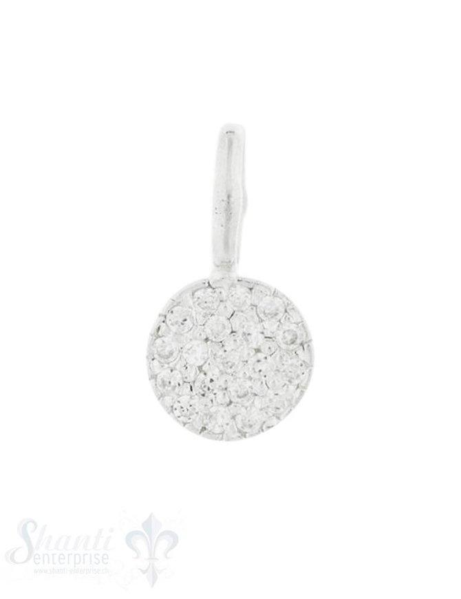 Anhänger Silber mit Zirkoniabesetzt 8 mm Öse fix Pack = 2 Stk.