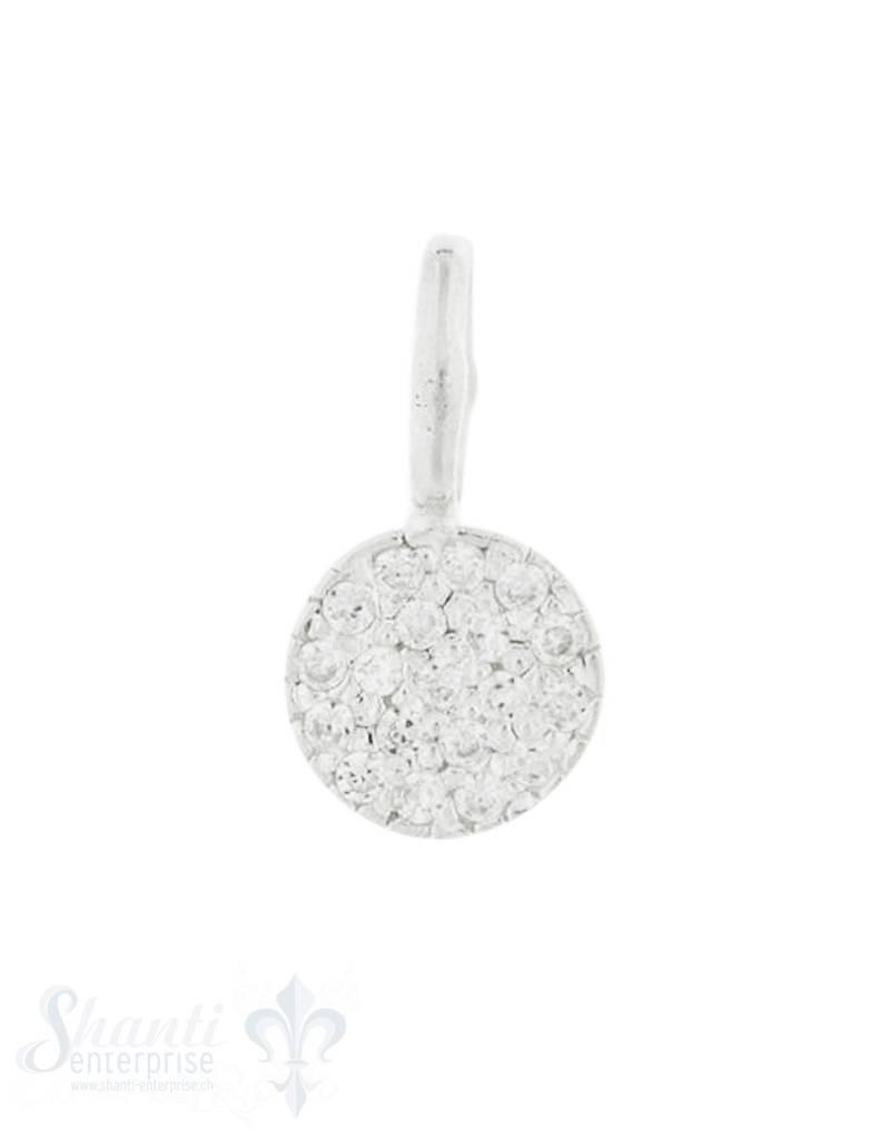 Anhänger Silber mit Zirkoniabesetzt 8 mm