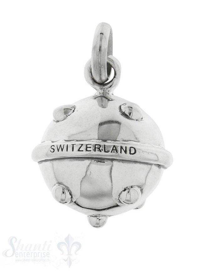 Anhänger Silber Kugel hell Switzerland gepunktet 2 4 mm