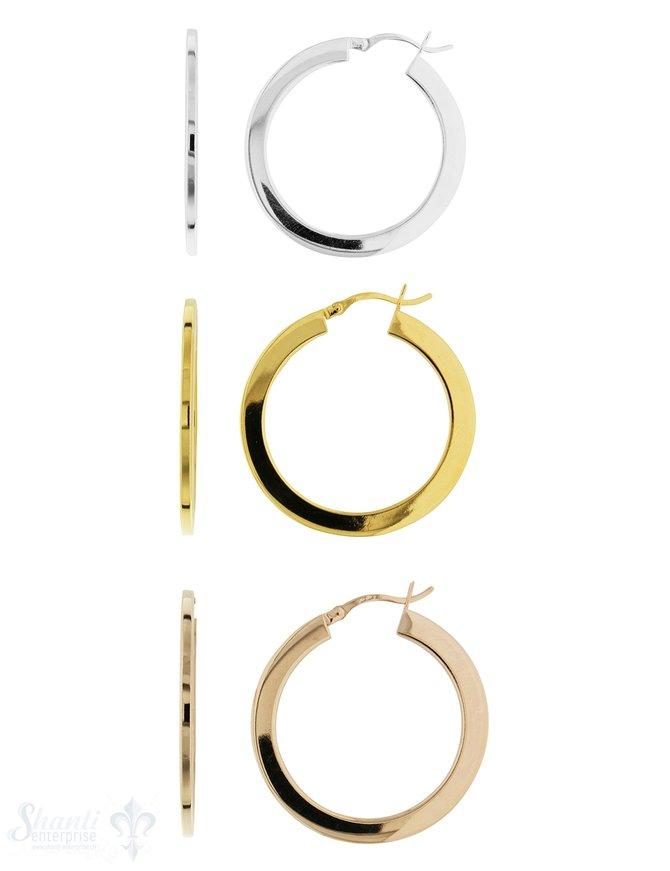 Ohrhänger Creolen flach 35 mm Silber poliert 4 mm flach Bügel zum Einklicken