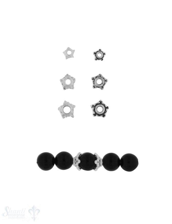 Perlkappe Silber verziert für 4-12 mm Kugeln