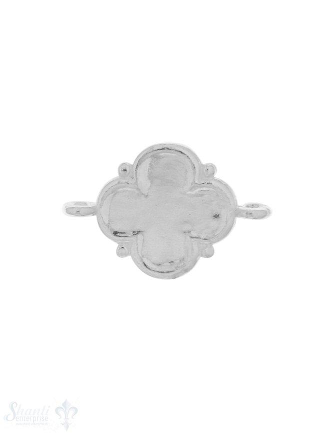 Silberteil mit Doppelösen hell Blume 4-blättrig mi t Punkten 22x14 mm