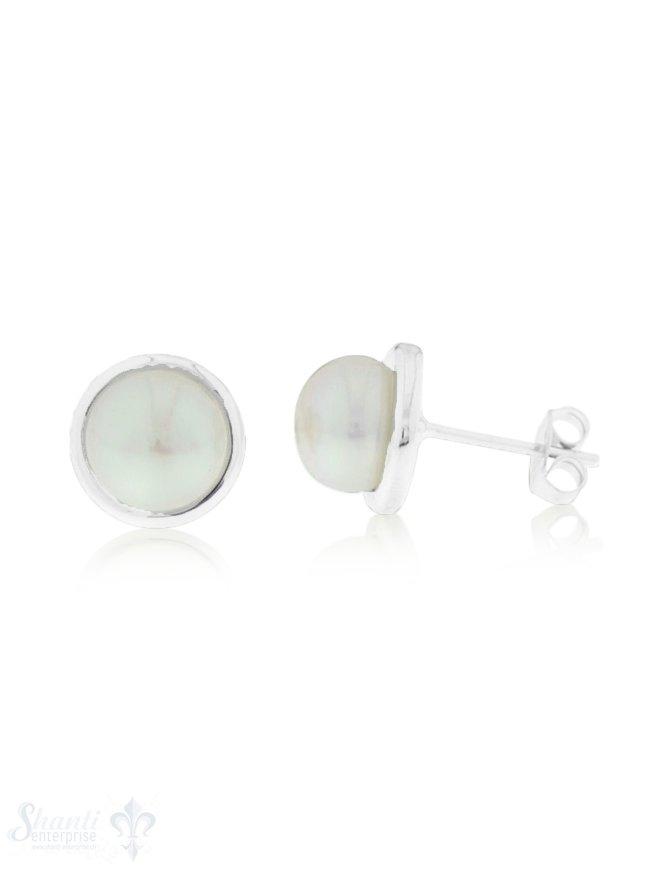Ohrstecker Silber Perlen weiss rund mit dickem Silberrand