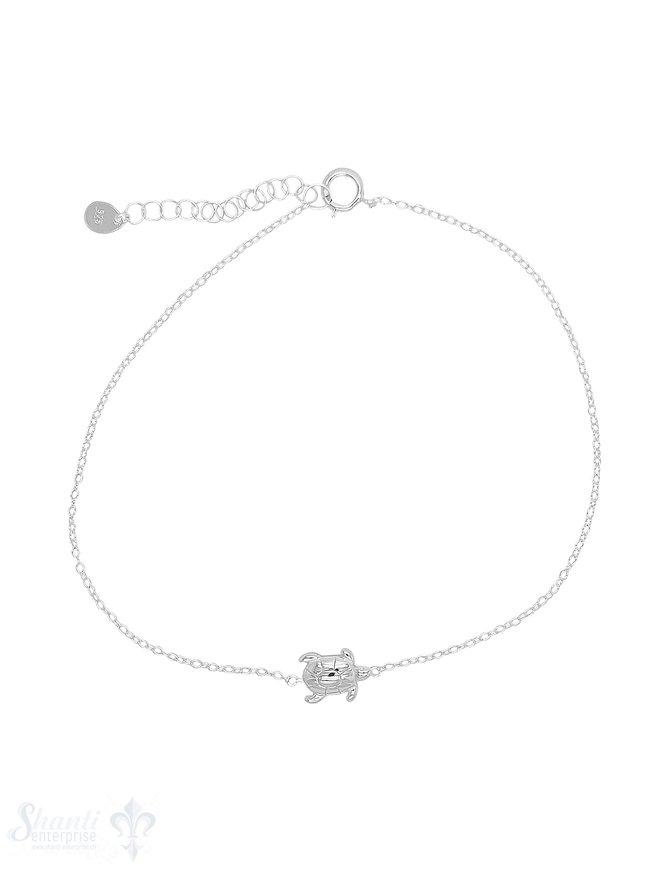 Fussketteli Silber hell Anker 23-26 cm mit Wasserschildkröte Federringschloss ec Grössen verstellbar