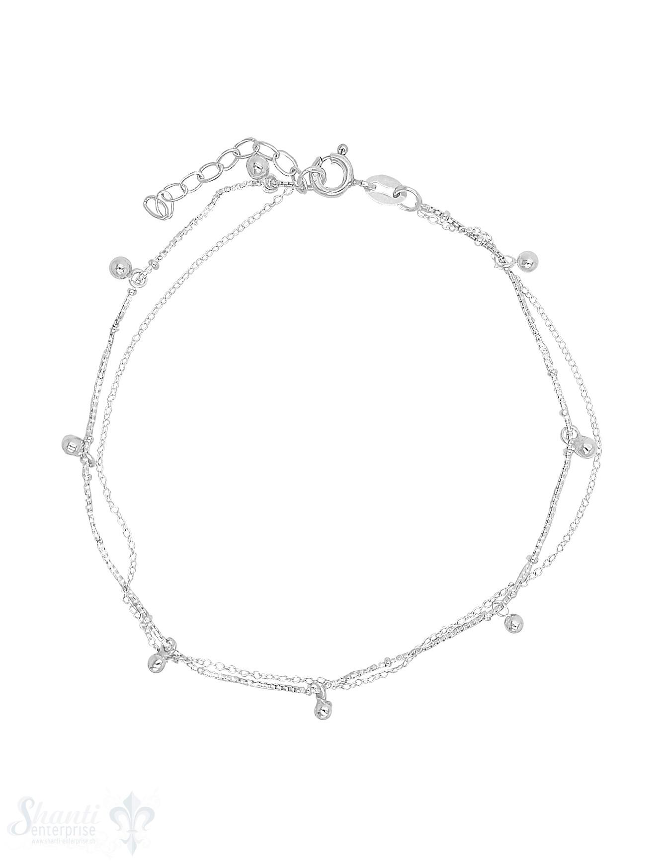 Fussketteli Silber venez./ Anker 2-reihig 23-26 cm Kügeli-Anhänger Grössen verstellbar