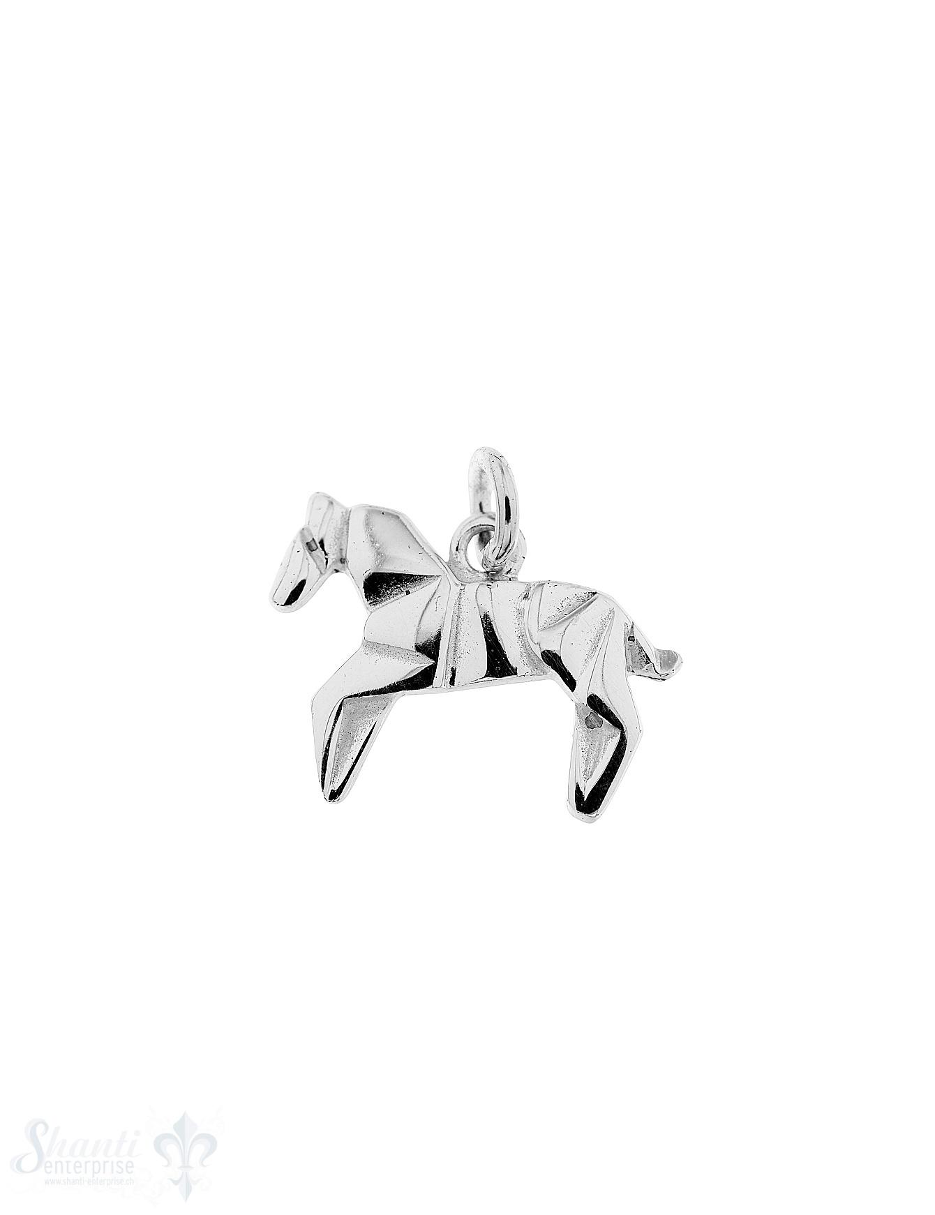 Silbertier Pferd flach 10x14 mm poliert mit Öse