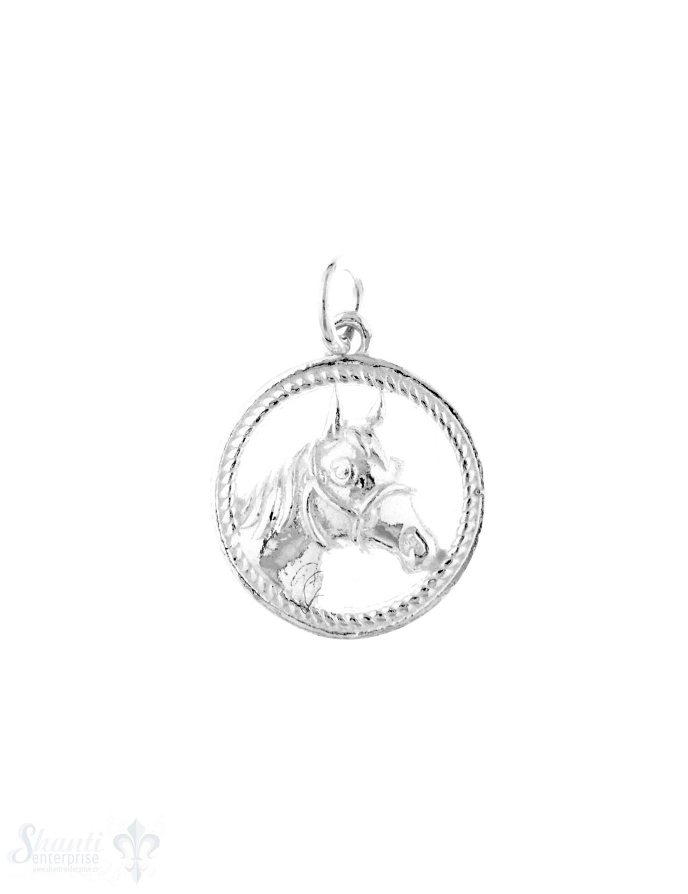 Anhänger Silber hell Pferdekopf in Ring 16 m
