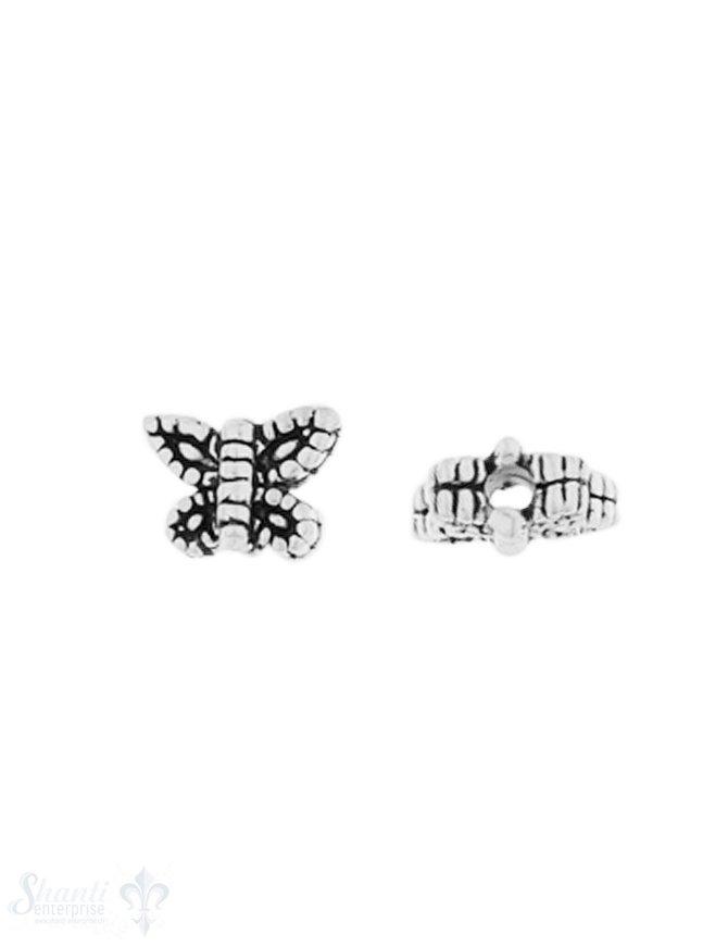 Zwischenteil Silber geschwärzt Schmetterling 6x7 m m Loch 1.5 mm 1 Pack = 8 Stk. ca. 4 gr.