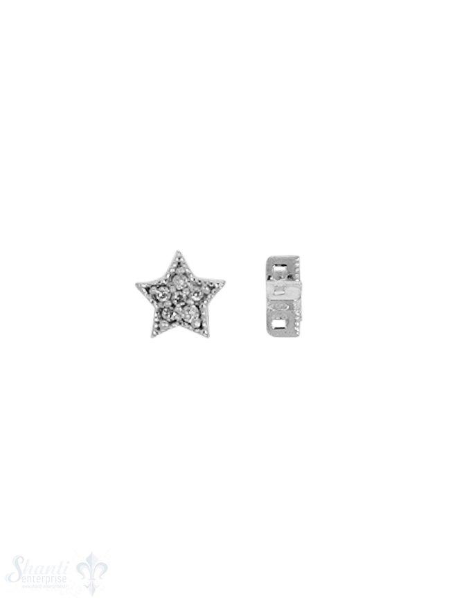 Silberzwischenteil Stern verziert 6 mm mit Zirkoni ia Loch 0.7 mm Dicke 3 mm 1 Pack = 3 Stk.