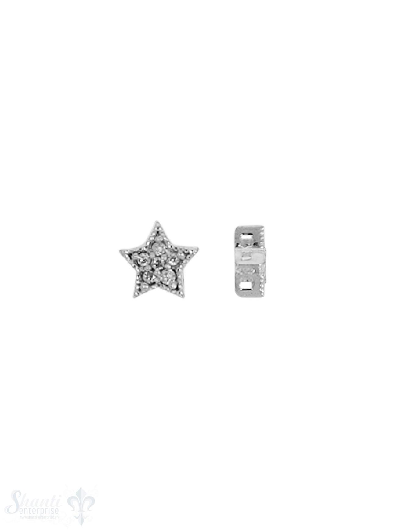 Silberzwischenteil Stern verziert 6 mm mit Zirkoni